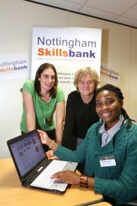 Caroline Berrill, Jacqui Storey and Olumide Adisa at the Nottingham Skillsbank Launch