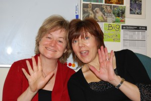 With my colleague Jacqui (that's me in black)