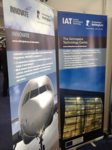 IAT banners introducing people to types of facilities on offer and projects undertaken at the University