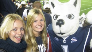 Sophie at an American football game with the UConn Huskies