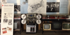 Image of display of old TVs