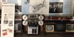 Image of display of old TVs