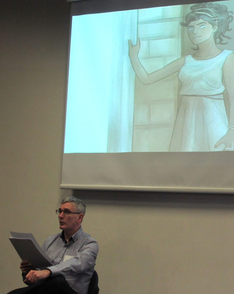 Mike Carey, author of The Girl with All the Gifts, reads an earlier version of the story at a Nottingham conference in January .