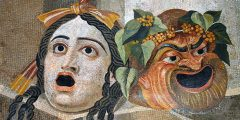 Mosaic depicting theatrical masks of tragedy and comedy (Thermae Decianae), by Carole Raddato/Speravir, Wikimedia Commons