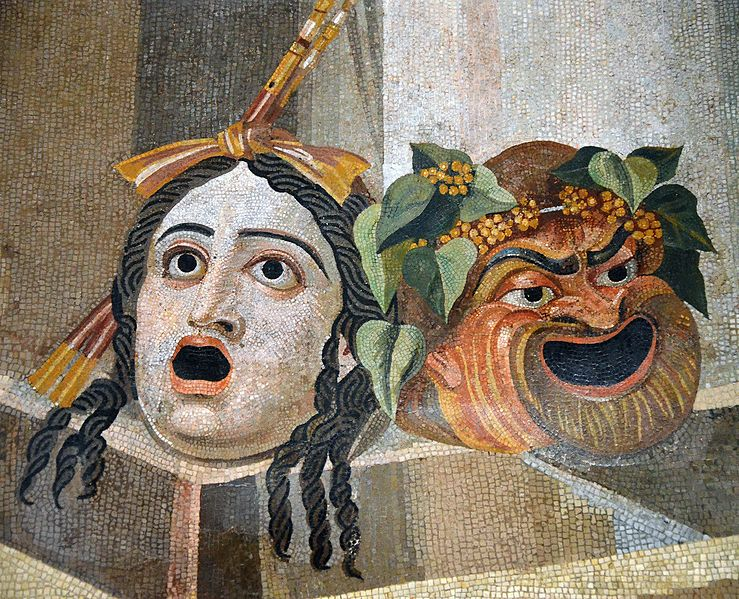 oMosaic depicting theatrical masks of tragedy and comedy (Thermae Decianae), by Carole Raddato/Speravir, Wikimedia Commons
