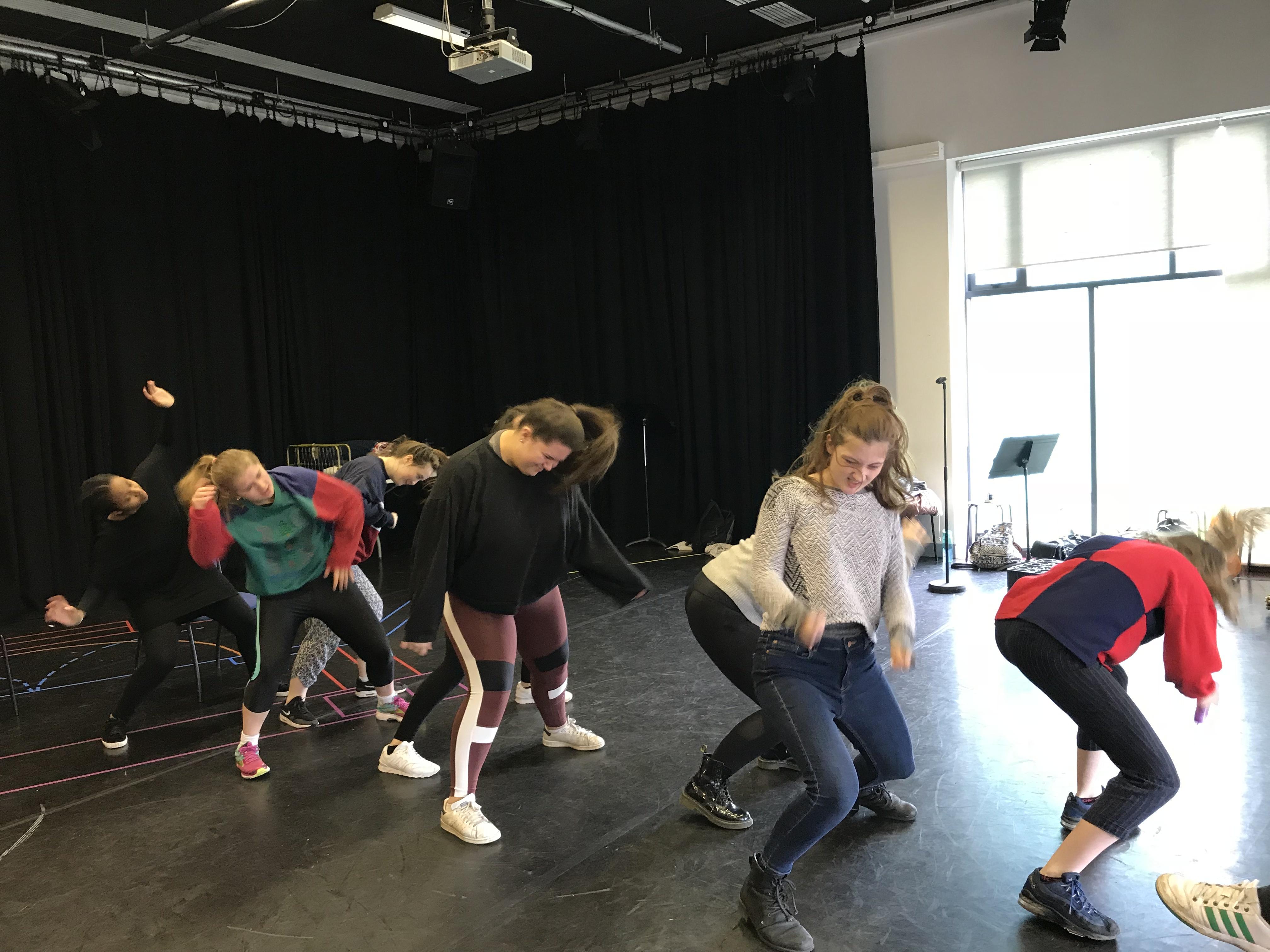 Lysistrata rehearsal - the chorus of women