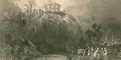Engraving of Nottingham Castle on fire courtesy of Manuscripts and Special Collections, The University of Nottingham
