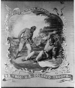 "Image: David B. Bowser, ""With Great Steadiness and Courage"" – 22nd Regt. United States Colored Troops, photograph of regimental flag,"" Courtesy Library of Congress."