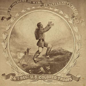 """Image: David B. Bowser, """"24th Regt. U.S. Colored Troops. Let Soldiers in War, Be Citizens in Peace,"""" photographic print on carte-de-visite, Courtesy Library of Congress."""