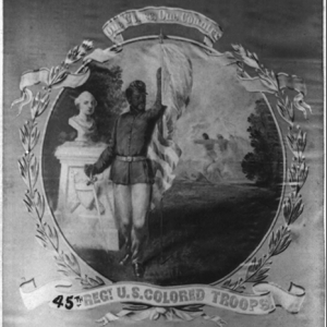 """Image: David B. Bowser, """"One Cause, One Country – 45th Regt. U.S. Colored Troops,"""" photographic print on carte de visite mount, Courtesy Library of Congress."""