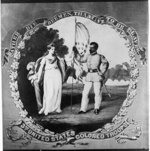 """Image: David B. Bowser, """"Rather die freemen, than live to be slaves – 3rd United States Colored Troops,"""" photographic print on carte-de-visite, 1860-70, Courtesy Library of Congress"""