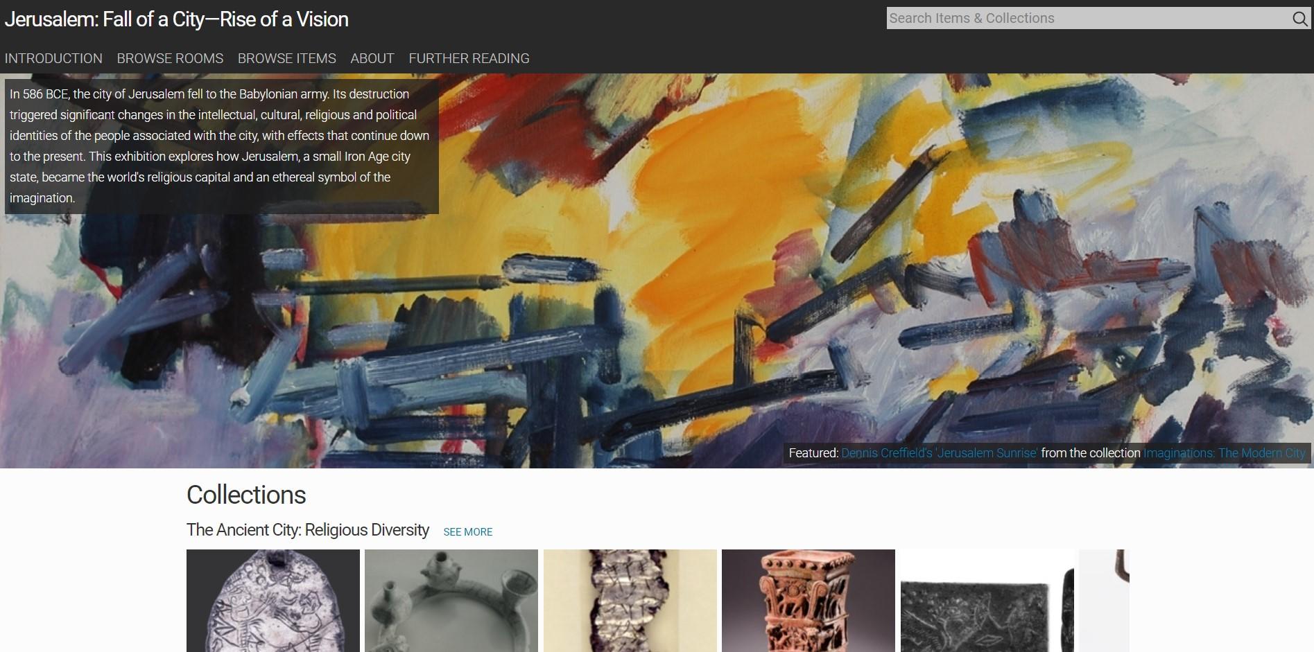 Image of the Jerusalem exhibition website