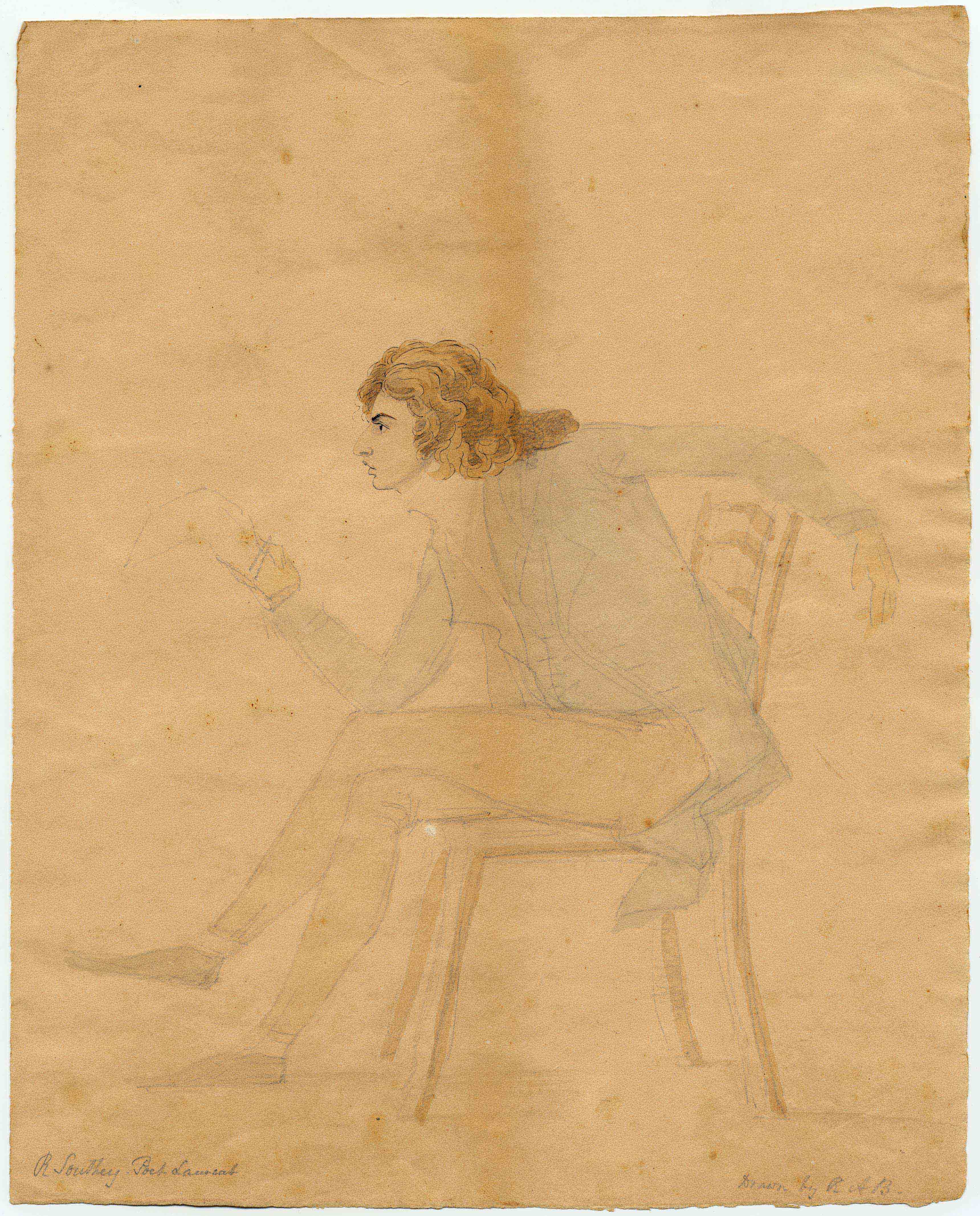 A sketch of a man with brown hair leaning forward, holding a document