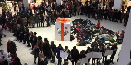Nottingham Can't Breathe protest in the Victoria Centre, Nottingham, December 20th, 2014. Courtesy Lisa Clarke.