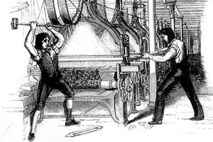 Luddites smashing 19th century technology
