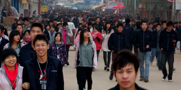 Picture of Foxconn workers in Shenzhen,