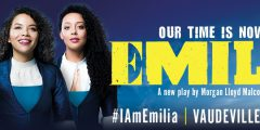 Three women dressed in blue next to the title 'Emilia'