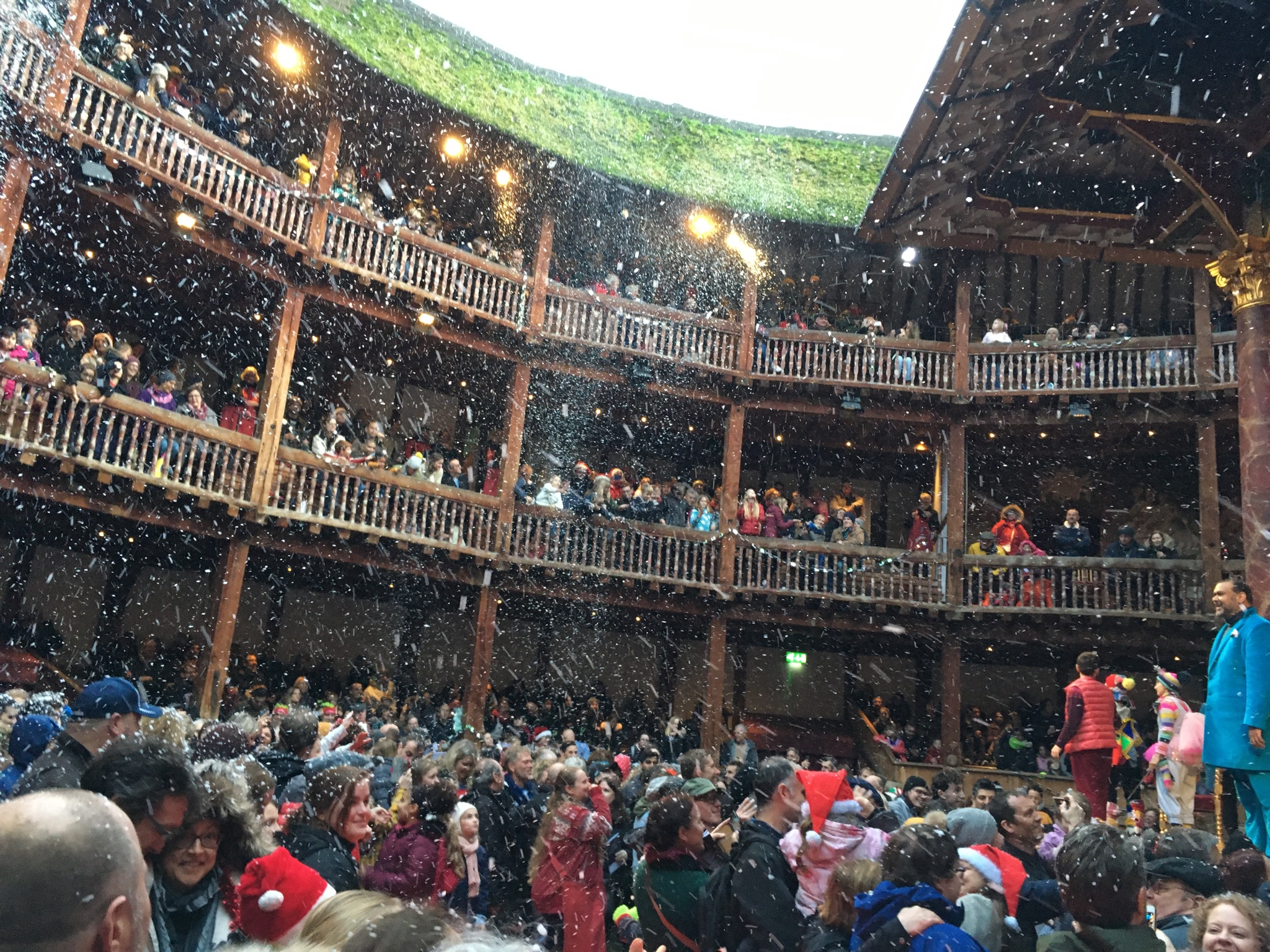 The Globe theatre full of snow