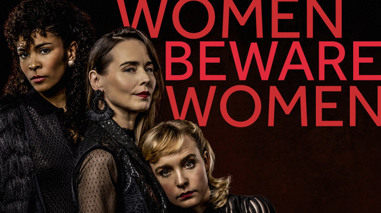 Poster for Women Beware Women, featuring three women grouped together.