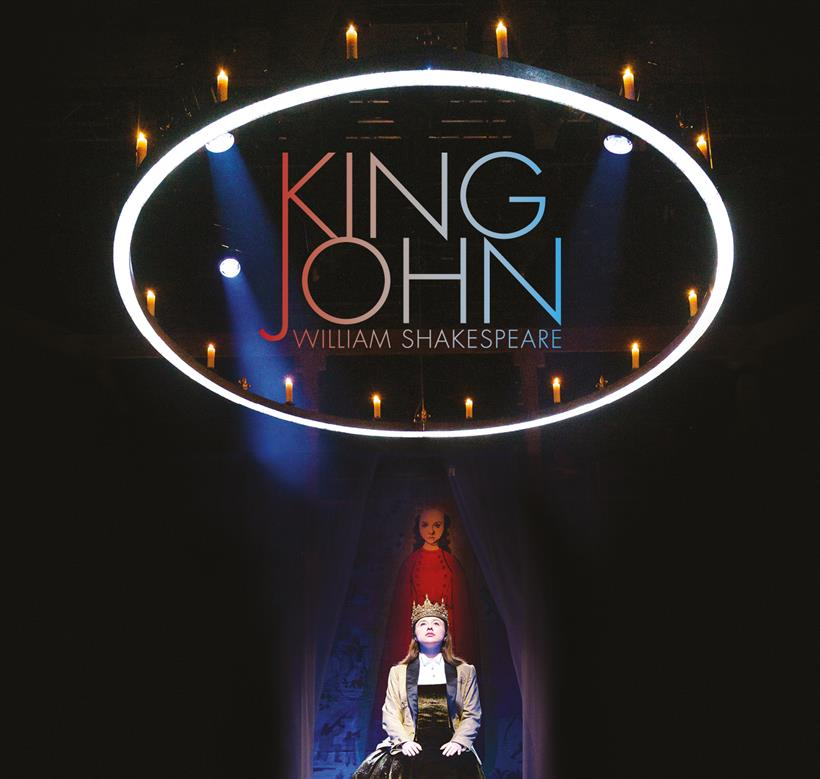 Poster for King John, featuring a woman sitting below a large circle illuminated with candles.
