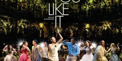 Poster for RSC As You Like It, feat peple dancing in front of a theatre