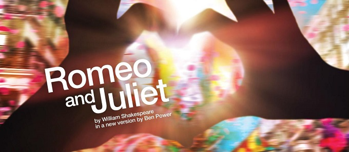 Poster for Romeo and Juliet, featuring two hands held up to form a heart.