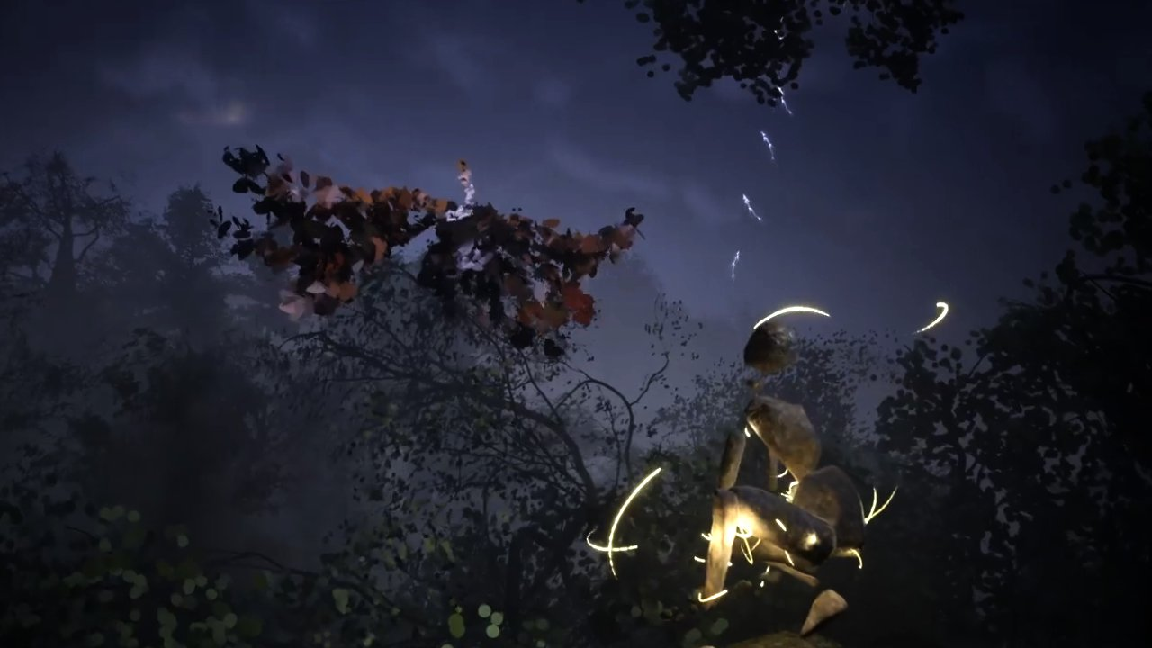 An avatar in a CGI forest