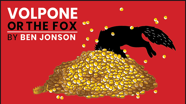 Artwork for Volpone, featuring a fox diving into a pile of gold