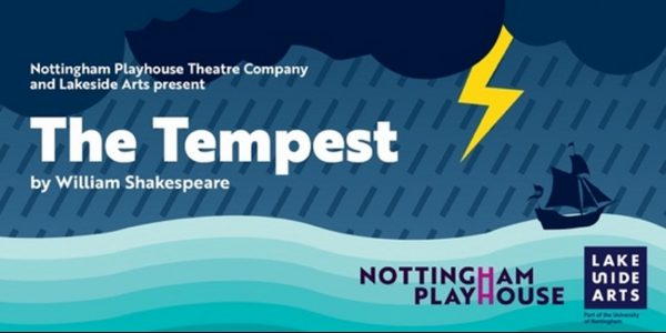 Poster for The Tempest, featuring an illustration of a bolt of lightning over a boat on a stormy sea.