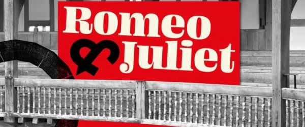 Image of the words Romeo & Juliet on a red background, inserted into an image of the wooden balcony at the Globe.