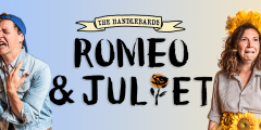 Poster for Romeo and Juliet, featuring a man and a woman looking comically angsty