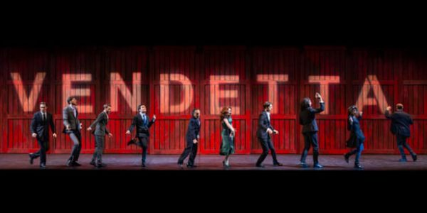 A group of actors on a stage under the word 'Vendetta'
