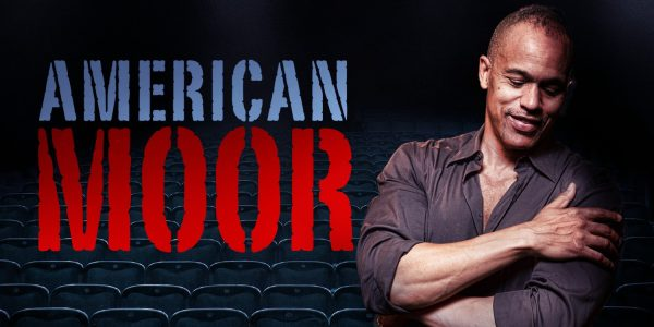 Poster for American Moor, featuring a man in shirt sleeves crossing his arm across his chest.