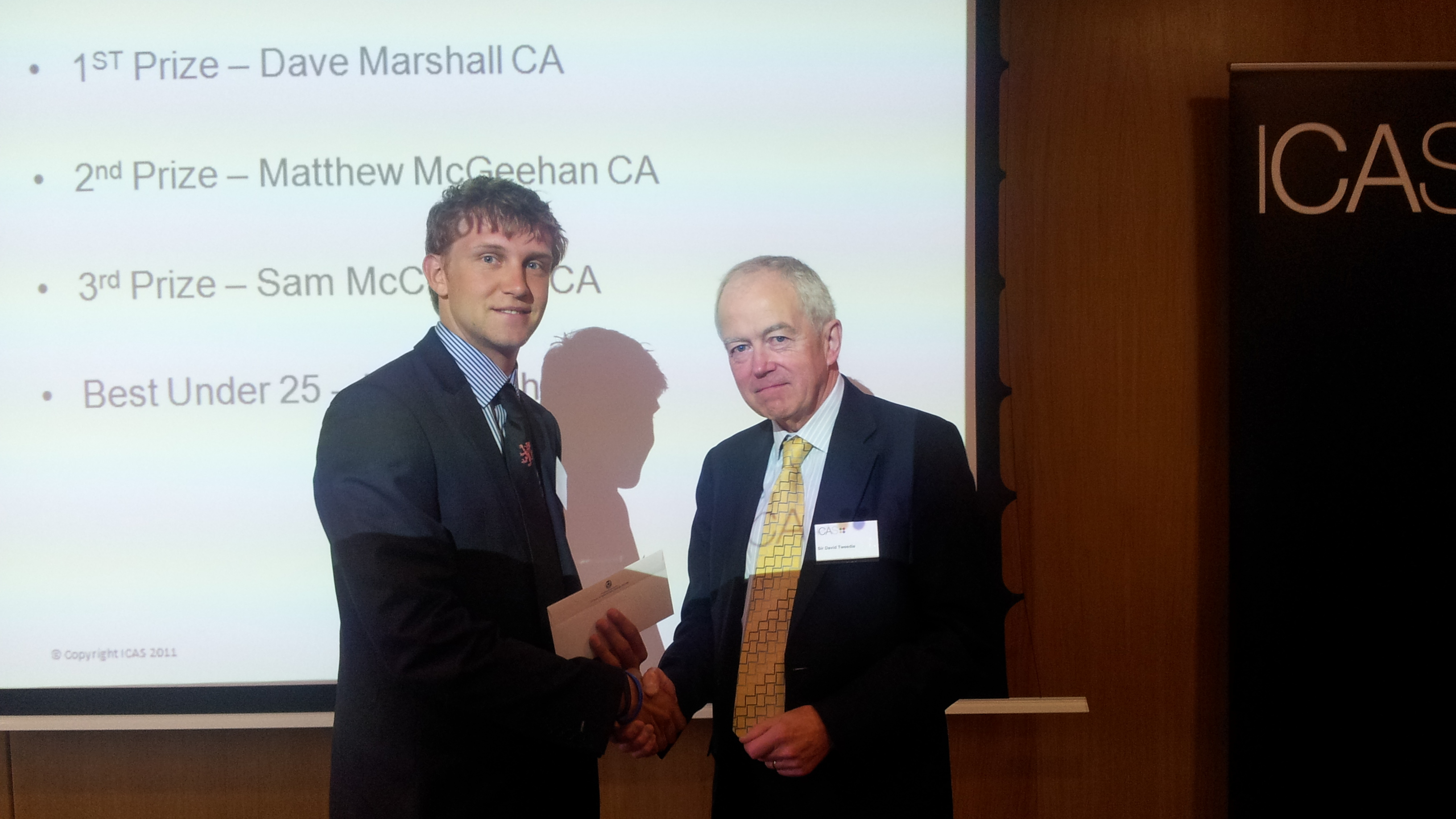 The Role Of Accountants In Measuring Environmental Sustainability Daniel Johnson Winner In The Under  Category In The  ICAS Sustainability Essay Prize Receives His Prize From ICAS President Sir David Tweedie The Role Of Accountants In Measuring Environmental Sustainability