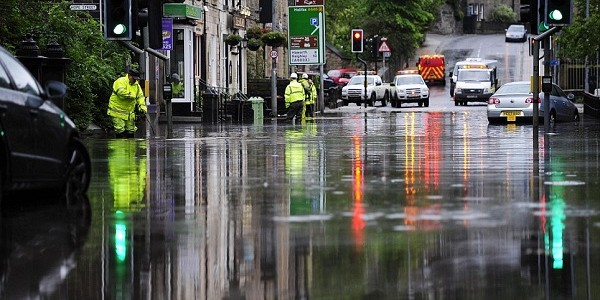 A photograph of flooding in Hebden Bridge, 2012