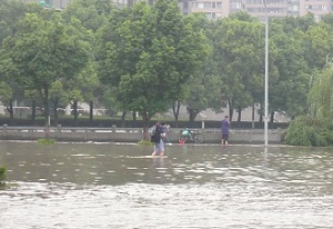 A photograph of flooding in Ningbo, China, 2013 (photo from Faith Chan)