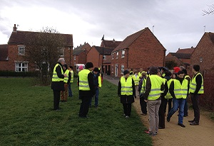A photograph of the CWFA team in Newcastle looking at SuDS in the Melbury area
