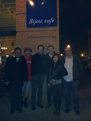 A photograph of some of the CWFA team outside the Bijou cafe, Portland, Oregon