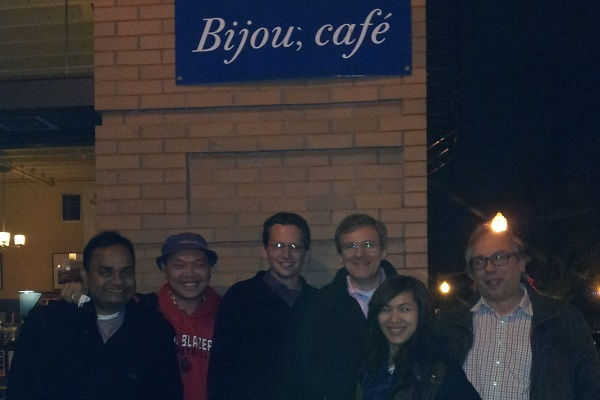 A photograph of some of the Clean Water for All team outside the Bijou cafe, Portland, Oregon