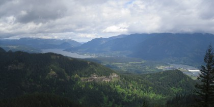A photograph of the view of the Columbia River Gorge, Washington State side, from the Hamilton Mountain Trail