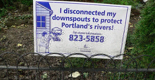 A photograph of a sign showing that the owner of the house has disconnected their downspouts (drainpipes into the sewer system)