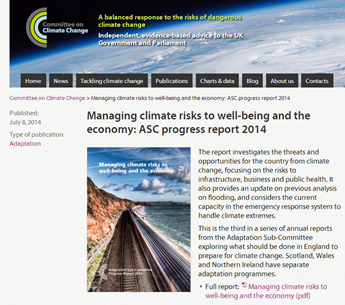 A screen shot from the Committee for Climate Chsnge website, Managing climate risks to well-being and the economy: ASC progress report 2014