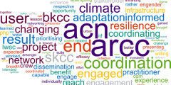 A wordle featuring the aims of the Adaptation and Resilience to a Changing Climate (ARCC) - Coordination Network (ACN)