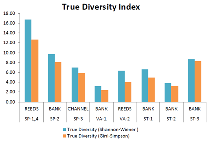 Figure 6. True Diversity Index results for samples taken in the SuDS ponds.