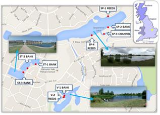 Figure 1. SuDS sample sites in the Hamptons, Peterborough.