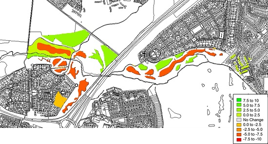 A GIS image showing the Multiple Benefit Evaluation of SuDS in Newcastle Great Park.