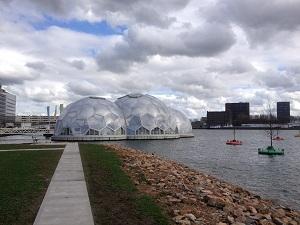 A photograph of the Drijvend Paviljoen, or floating pavilion