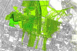 An example map from a GIT Toolbox illustrating multiple benefits for Blue-Green infrastructure (WP1)