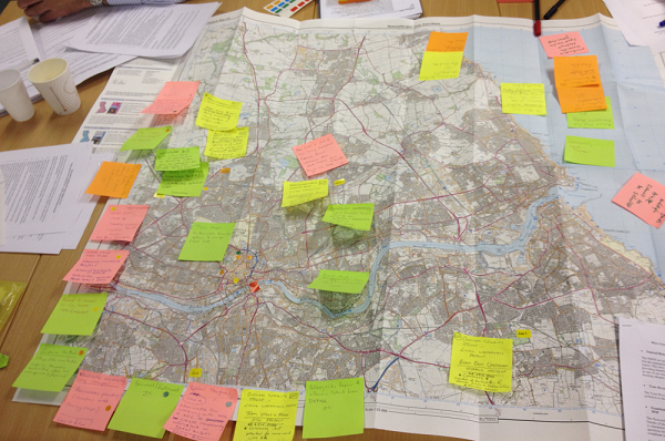 A photograph of a mapping exercise during a Newcastle Learning and Action Alliance workshop (2014)