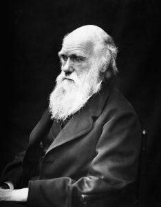 Monochrome portrait photograph of naturalist Charles Darwin
